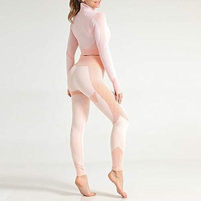 Women 2 Piece Outfits Sets, Ulanda Womens Long Sleeve Crop Top Workout High Waist Pants Leggings Yoga Casual Tracksuit: Clothing
