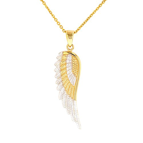Solid 14k Yellow Gold Textured Angel Wing Charm Pendant Necklace, 20