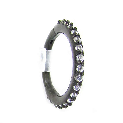 NewkeepsR 16G 10mm(3/8'') Black Anodized 316L Steel Hinged Clicker Segment Ring Pave Set with Clear Sparkling CZ Gems