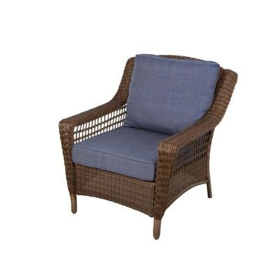 Hampton Bay Spring Haven Brown All-Weather Wicker Patio Lounge Chair with Sky Blue Cushions (Hampton Wicker Bay Outdoor Chairs)