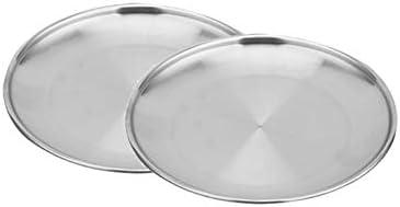 Cratone 2 Stck Food Plate Edelstahl Teller Braten Abendessen Teller BBQ Picnic Plate Size 14CM