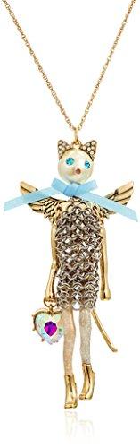 Betsey Johnson Angel Cat Long Pendant Necklace ()