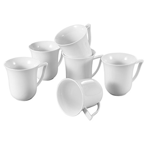 China Porcelain Mug (Malacasa 6 Piece Series Carina, Porcelain Cups China Ceramic Cream Mugs, Ivory White)
