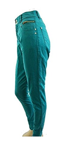 Vert Taille Haute Zip jambe Skinny Jeans