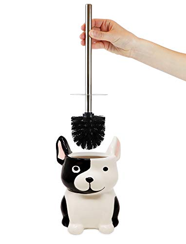 Isaac Jacobs Black and White Ceramic Dog Toilet Bowl Brush Holder with Chrome Metal Handle (Unassembled) - Bathroom Accessory & Cleaning Storage (Dog) (Kids Toilet Bowl Brush)