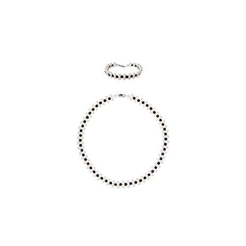 Parure Collier et Bracelet Perles de culture blanches et Cristaux noirs -Blue Pearls-BPS 1071 O