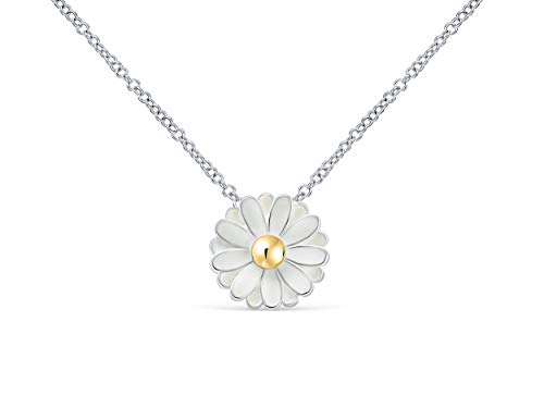ONDAISY Spring Daisy White Silver Color Flower Charm Pendant Statements Necklace for Women Girls Teens -