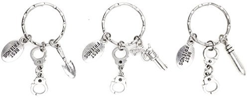 (3 Keychain Set: Partners in Crime Handcuffs Best Friend Charms and one of each Gun Bullet Shovel)