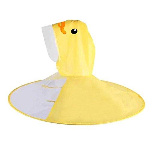 Geetobby Notable Korea Hot Cute Little Yellow Chicken Rainwear Children Cloak Shape Umbrella Foldable UFO Raincoat Hat Head-mounted Hands Free Raincoat For Kids INS (chicken, m)