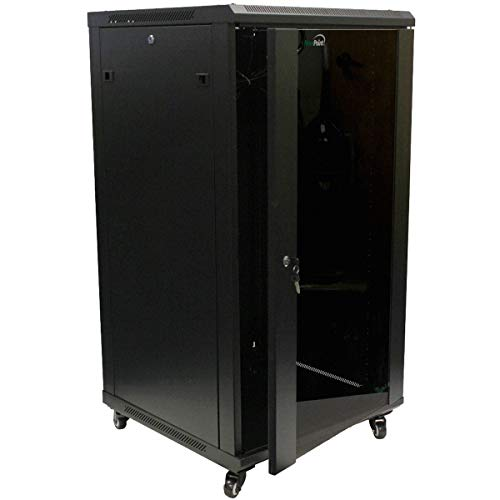 NavePoint 22U IT Wall Mount Network Server Data Cabinet Rack Glass Door Locking Casters (Computer Rack Server)