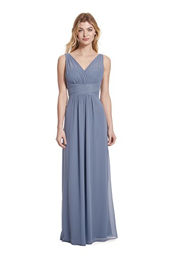 Illusion A-line (Samantha Paige V-Neck Illusion Pleated A-Line Chiffon Formal Dress,Stormy,8)