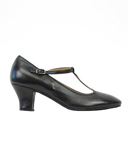 9201Rumpf Damen Tanzschuhe Latein Salsa Rumba Tango Ballroom Schuhe Material Leder, Chromledersohle Absatz 5 cm, Made in Italy Schwarz