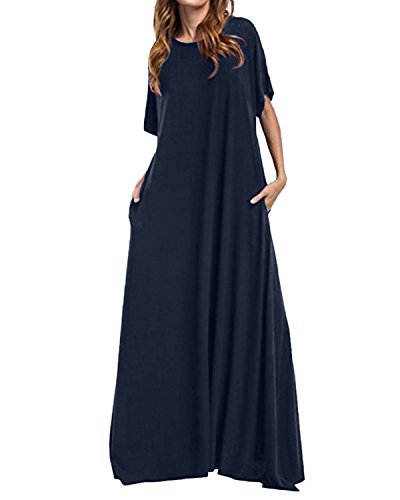Kidsform Women Maxi Dress Loose Round Neck Short Sleeve Long Solid Plain Dress with Pocket Navy ()