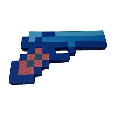 """8 Bit Pixelated Blue Diamond Foam Gun Toy 10"""""""