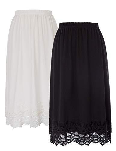 - Dress and Skirt Extender with Lace or Ruffle Trim (XXL, Black+White)