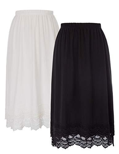 GRACE KARIN Rockabilly Dress Extender with Elastic Waistband(XL, Black+White)