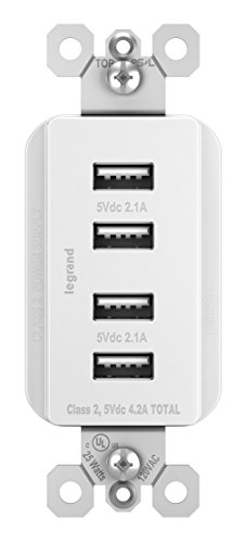 Legrand - Pass & Seymour TM8USB4WCCV4 Radiant Quad USB Station Smartphones & Tablets, 4.2 Amps Total Charging Power, White from Legrand - Pass & Seymour