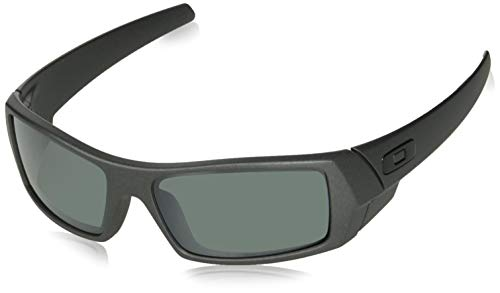 Oakley Men's OO9014 Gascan Rectangular Sunglasses, Steel/Prizm Black Polarized, 60 ()