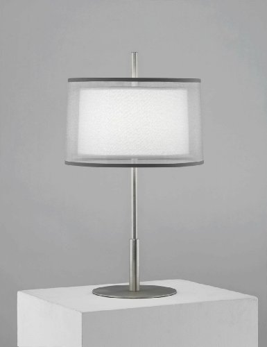 Robert Abbey S2194 Lamps with Silver Transparent Exterior and Ascot White Fabric Interior Shades, Stainless Steel Finish ()