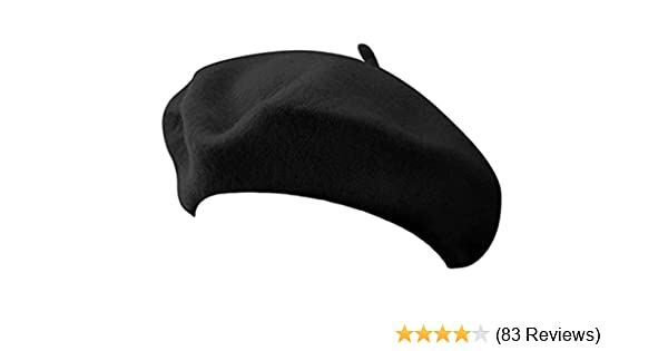a3d4ce74c2eab Classic French Artist 100% Wool Beret Hat Black at Amazon Women s Clothing  store