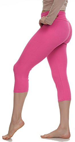 LMB Lush Moda Extra Soft Capri Leggings - Variety of Colors - Yoga Waist - Fuchsia