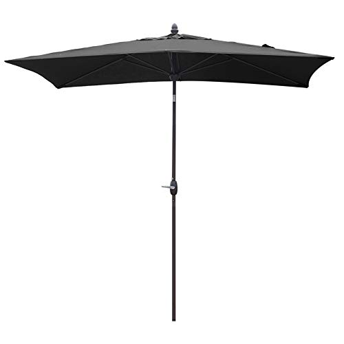 SORARA Patio Umbrella Rectangular Outdoor Market Table Umbrella with Push Button Tilt Crank Umbrella Cover, 6.5 x 10 , Black