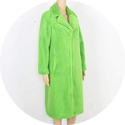 ket Winter Faux Fur Coat Women Yellow Gray Black Furry Outerwear Long Artificial,Green,M ()