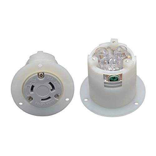 YuaDon NEMA L6-30,30 amp,125/250 Volt,Mounting Flanged Inlet Receptacle for Generator Straight Blade Plug Charger,2 Pole,3 Wire