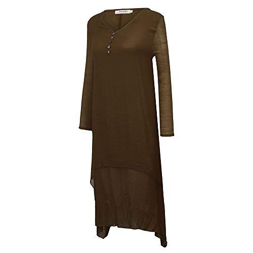 Lino Sólido Amphia Vestido vestido Largo Color Mujer vestido Étnico Café vestido Mujer Irregular vestido Suelto De aapwgxqvE