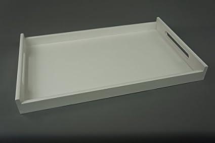 Decocraft Grande blanco madera té o comida bandeja 64 x 40 cm (25 x16