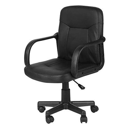 Adjustable Executive Office Chair Rolling Swivel PU Leather Black Mid-Back Computer Chair by IOOkME-H