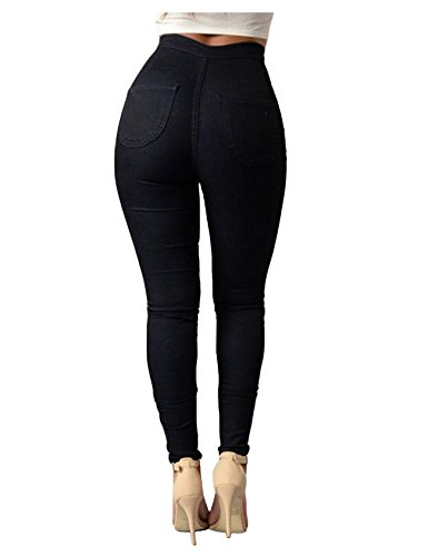 skinny Jueshanzj Blanc couleur taille de Pantalon crayon jeans jeans bonbon Femme haute PCqBrxIC