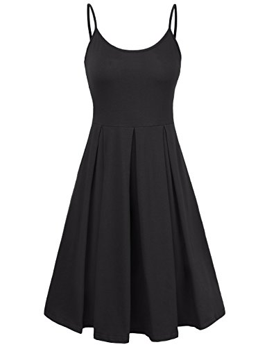 KASCLINO Spaghetti Strap Dress, Women's Elegant Night Party Dresses Short Dress Black (Jewel Neck Sweater Dress)