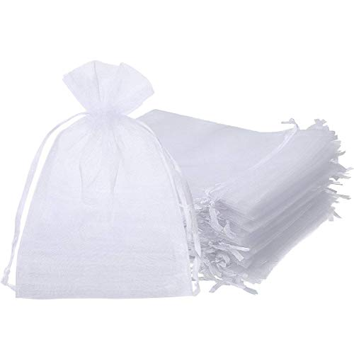 ONWON 100 Pieces Organza Drawstring Gift Bags 5 x 7 Inch Party Wedding Travel Favor Jewelry Pouches Candy Bags Baby Shower, White