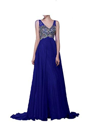 Victory Bridal Royalblau V-ausschnitt Steine Herbst Neu Abendkleider  Ballkleider Partykleider Lang Chiffon A-
