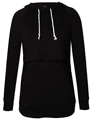 PrettyLife Women Nursing Hoodie Tops Pullover Long Sleeve Layered Breastfeeding Shirt with Pocket (Black, ()