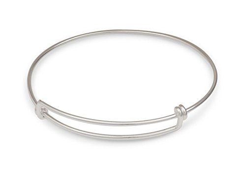 Adjustable Charm Bangle Bracelet Sterling Silver with 4 Free Sterling Silver Jump Rings ()