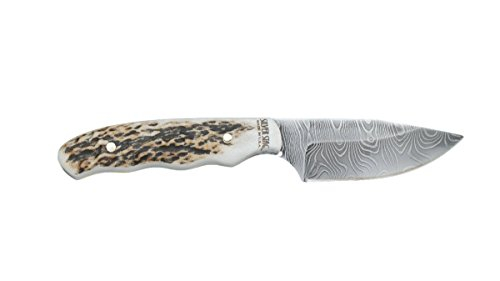 Silver Stag Damascus Steel Fixed Blade Knife The Guide Antler Slab Handle