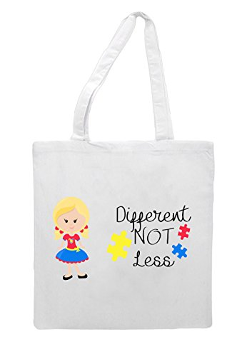 White Less Girl Blonde Character Bag Tote G6 Autism Pigtails Different Not Awareness With qna6wSC