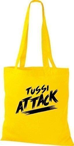 ShirtInStyle Bolsa de tela Bolsa de algodón Tussi Ataque - fucsia, 38 cm x 42 cm amarillo