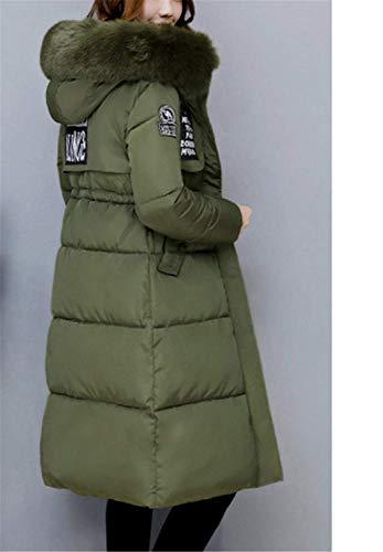 Invernali Comodo Elegante Manica Grün Con Donna Coulisse Cappotti Giovane Moda Solidi Vento Lunga Anteriori Cappuccio Cerniera Piumini Tasche Colori Giacca AR5qTBw5