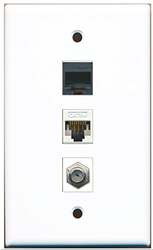 RiteAV - 1 Port Coax Cable TV- F-Type 1 Phone RJ11 RJ12 1 Cat5e Ethernet Wall Plate - White (Flush Jack Mount Wall)