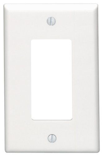 Leviton 80601-W 1-Gang Decora/GFCI Device Wallplate, Midway Size, Thermoset, Device Mount, White