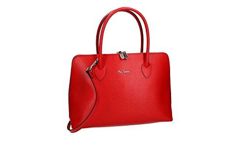 Borsa Donna Con Tracolla Pierre Cardin In Pelle Rossa Made In Italy Vn966