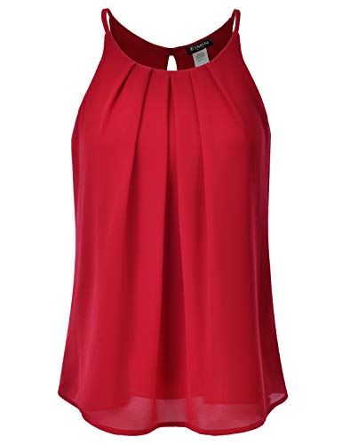 (EIMIN Women's Crewneck Pleated Front Double Layered Chiffon Cami Tank Top RED 1XL)