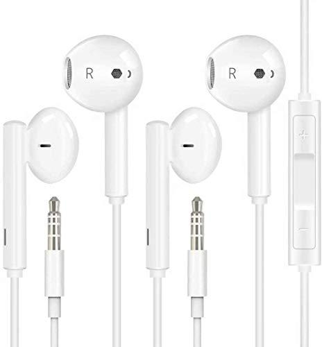 2 Pack Earbuds/Headphones/Earphones with 3.5mm Wired in Ear Headphone Plug(Built-in Microphone & Volume Control…
