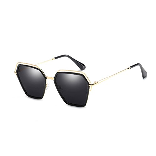 Anti UV Light Sombra La Gafas de conducción Polygon Espejo Viajes Sol Black vértigo Moda Polarized Irregular de Plata Anti Trend Color Personalidad qqawTt