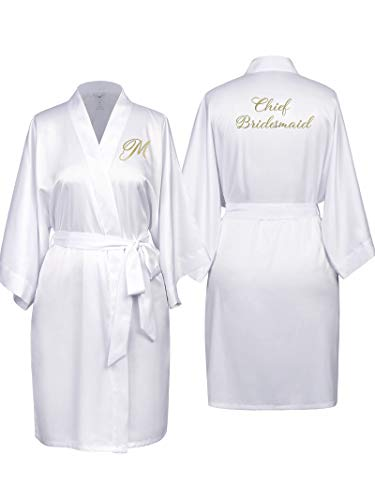 SIORO Bridal Robes for Bridesmaid,Woman Personalized Custom Bathrobe,Short Kimono Dressing Gown Monogrammed,White S -