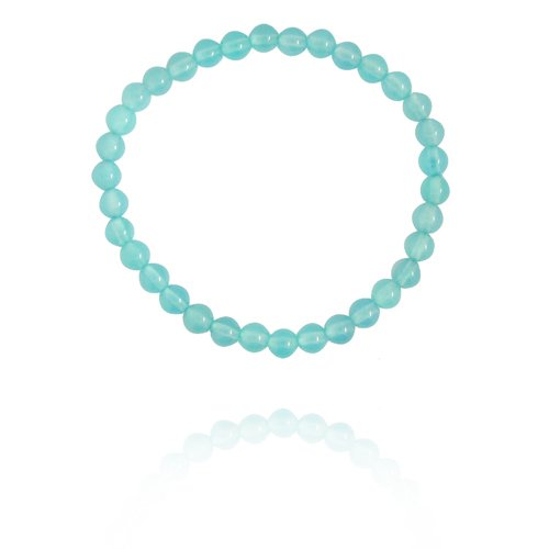 6mm Round Sea Blue Chalcedony Bead Bracelet, 8