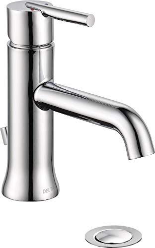 Delta Faucet Trinsic Single Hole Bathroom Faucet, Single Handle Bathroom Faucet Chrome, Bathroom Sink Faucet, Metal Drain Assembly, Chrome 559LF-MPU